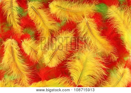 Background - small red, green, yellow plumes situated irregularly