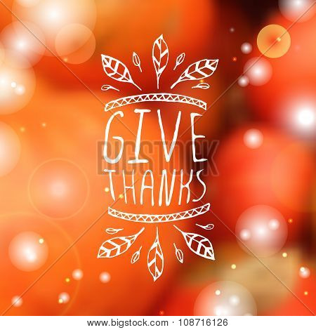 Give thanks - typographic element