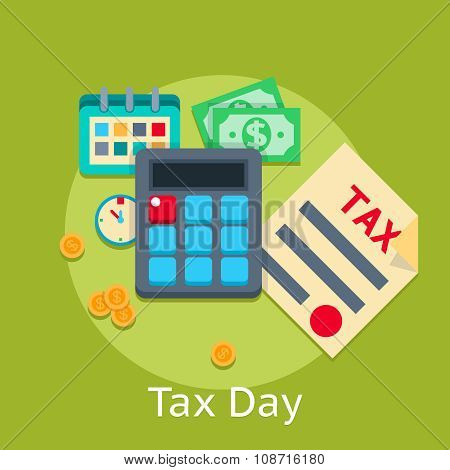 Tax payment vector flat business finance concept background