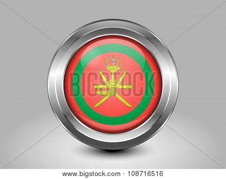 Flag Of Oman. Metal Round Icon. Emblem of Oman