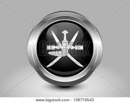 Emblem Of Oman. Metal Round Icon