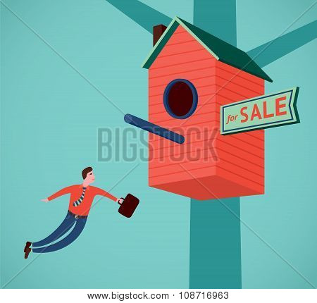 Real estate agent is flying
