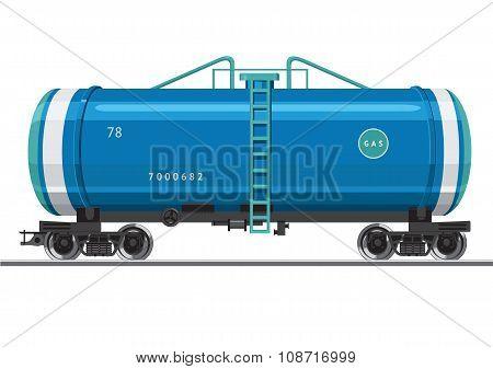 Railroad car with a gas