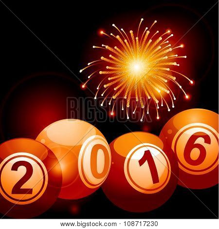 Bingo Lottery Balls 2016 And Fireworks