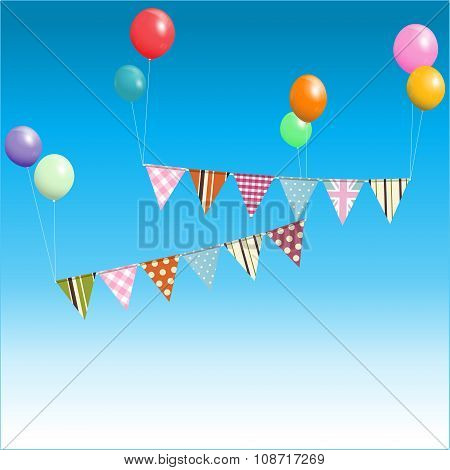 Bunting Floating With Balloons Over Blue Sky