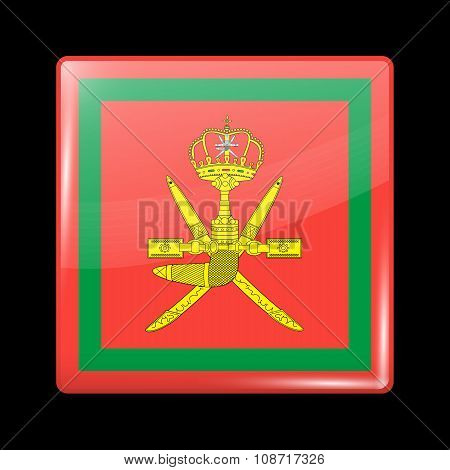 Flag Of Oman. Glassy Icon Square Shape