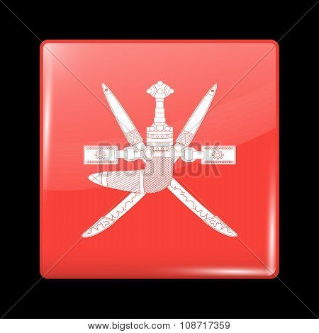Emblem Of Oman. Glassy Icon Square Shape