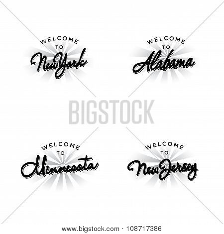 US States Invitation Vector Template