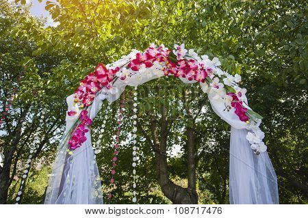 Arch For The Wedding Ceremony. Floristic Composition In Vintage Style.