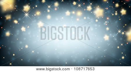 Blue luminous background with stars. Vector paper illustration.