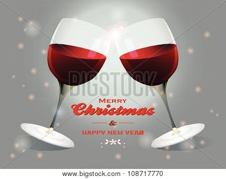 Christmas Wine Glasses Background