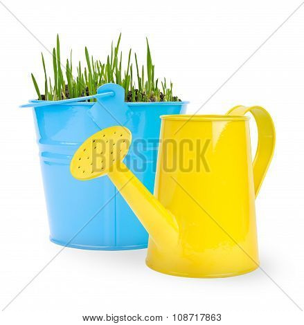 bucket with grass and one water can on a white background. Buckets and can made of metal.