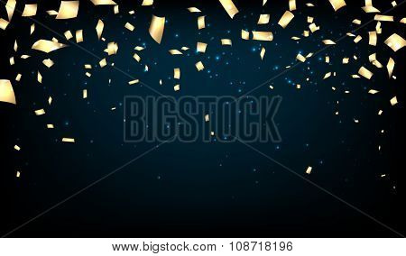 Blue background with confetti. Vector paper illustration.