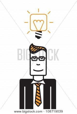 Man with square head