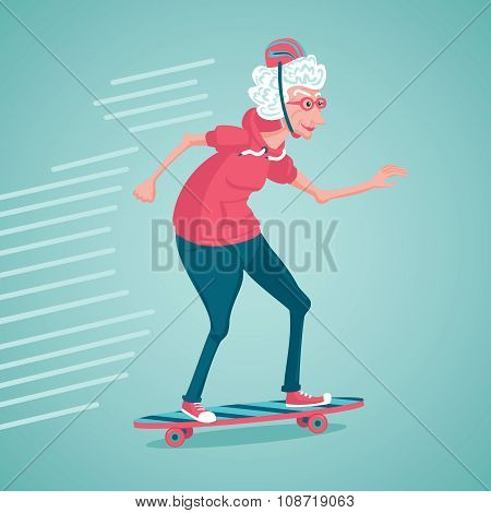 Old woman is skating