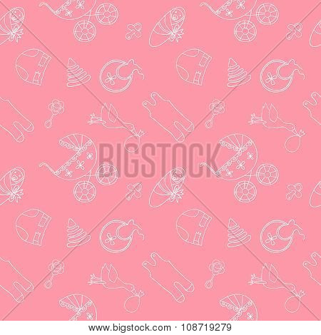 Monochrome baby seamless pattern on pink background.