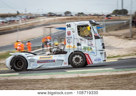 MADRID, SPAIN - OCTOBER 3 2015. XXIX European Truck racing Championship, Jarama circuit.
