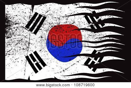 Wavy South Korea Flag Grunged