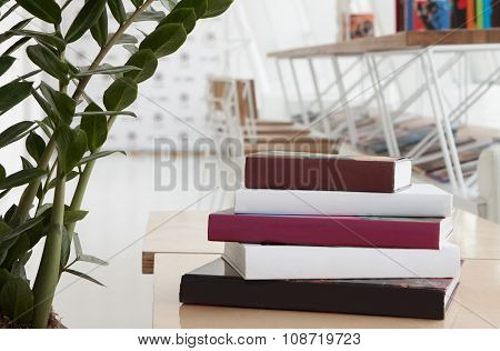 Books in modern restaurant