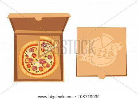 Pizza box vector illustration
