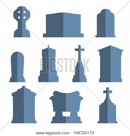Tombs stone grave vector construction set