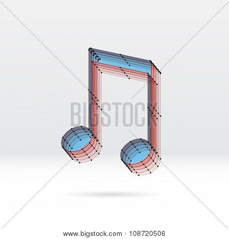 Transparent music note with dotted scheme