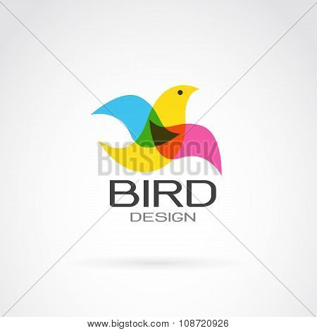 Vector Image Of Bird Design On White Background.