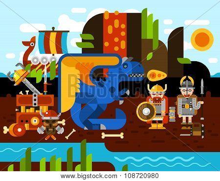 Viking Background Illustration