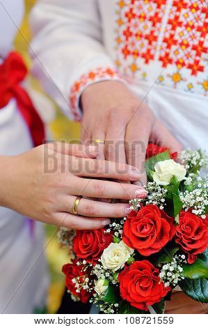 Bridal Bouquet And Hands