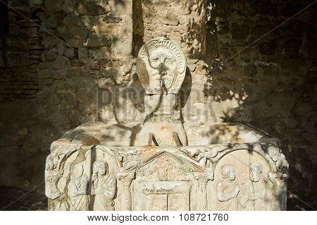Ancient Sarcophagus Fountain In Lanuvio