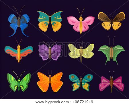 Colorful butterflies flat style vector collection