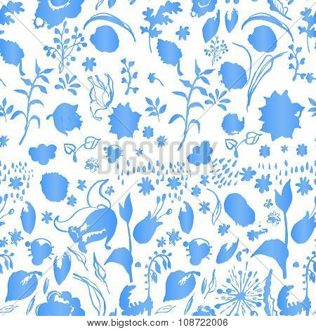 Artistic cold colors floral paper