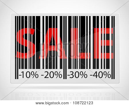 Barcode With The Word Sale And Discounts As Percentage Vector Illustration