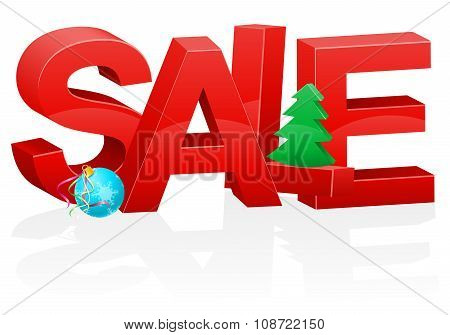 Christmas And New Year Volumetric Red Inscription Sale Vector Illustration