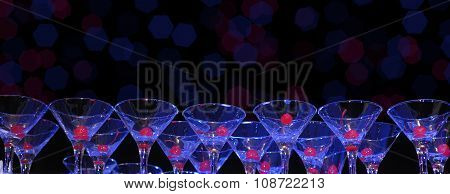 Glasses for cocktail with cherry berries