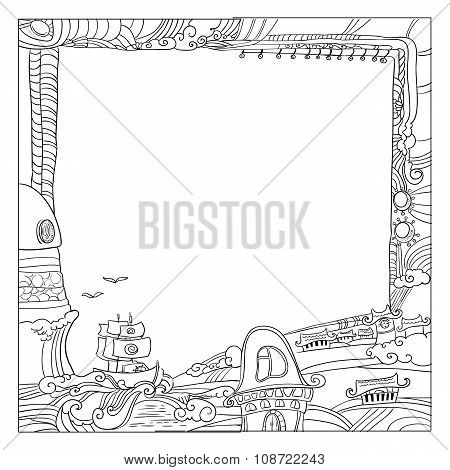Square childish style ink drawing outdoor frame