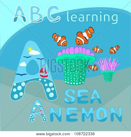 Sea background ABC background Sea animal cartoon alphabet A letter ABC kids Sea anemone and clownfis