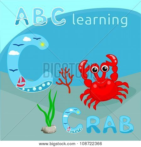 ABC background Sea animal alphabet C letter ABC kids Cute red crab with coral branch and seaweeds ve