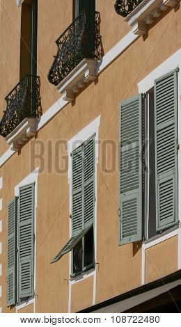 Shutters and balustrade