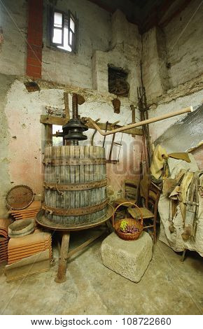 Old Machine For Pressing Grapes