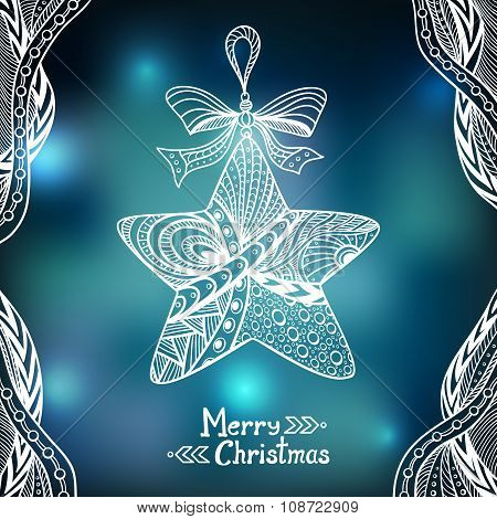 Christmas Star in Zen-doodle style  on blur background in blue