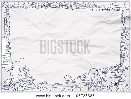 Childish style ink drawing outdoor frame