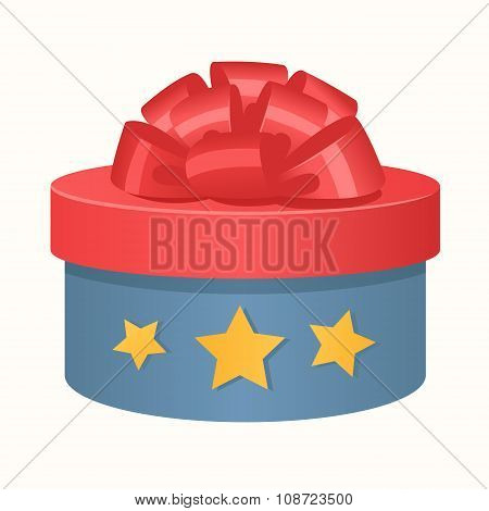 Colorful 3d gift box bow and ribbons vector