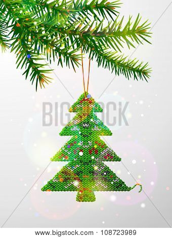 Christmas Tree Branch With Decorative Knitted Pine
