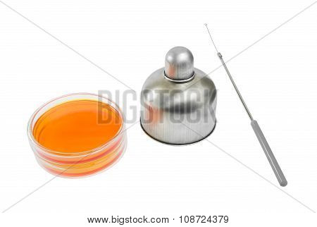 Alcohol Lamp And Loop In Microbiology Lab Tools