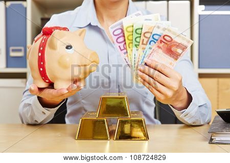 Financial security through diversity with Euro money, gold and piggy bank