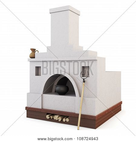 White Traditional Russian Stove. 3D.