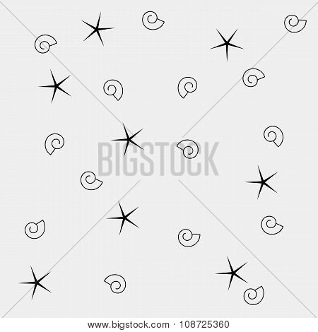 Vector pattern. Modern stylish texture. Marine shell and starfish pattern