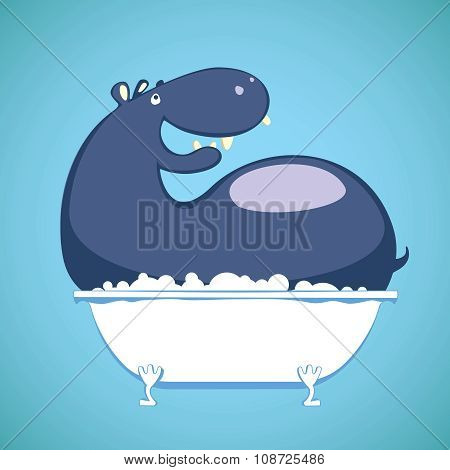 Hippo relaxing in Tub