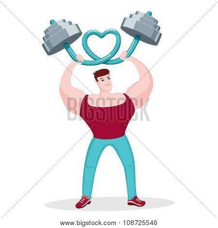 Bodybuilder bending barbell in shape of heart